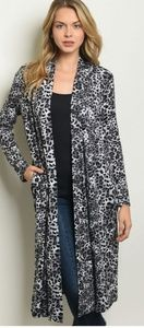 Black/grey Cheetah print almost maxi cardigan